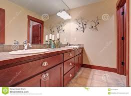 Bathroom Furniture Wood by Simple Bathroom With Red Wood Cabinets Stock Photo Image 57714834