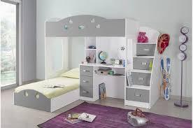 lit combiné bureau enfant lit combiné 2 couchages bureau blanc gris raphael lit enfant