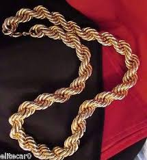 gold chain necklace woman images Massive gold plated rope chain necklace 15mm thick woman men jpg