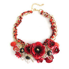 red flower necklace images Red rose bouquet 3d flower fashion bib statement necklace jpg