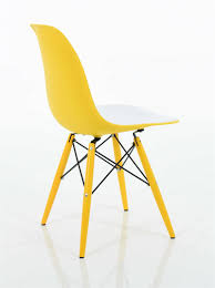 molded plastic side chair in double color seat with matching dowel