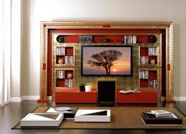tv stand tv rack tv wall unit in red and gold art deco style