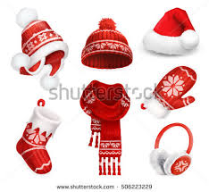 winter clothes santa stocking cap knitted stock vector 506223229