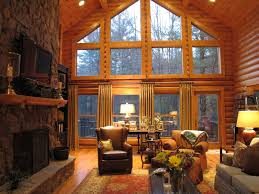 Rustic Cabin Plush Rustic Cabin Living Room With Vaulted Ceiling And Wood