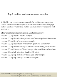 Resume Sles For Cashier Top 8 Cashier Assistant Resume Sles 1 638 Jpg Cb 1432803058