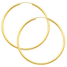 big gold hoop earrings 14k real yellow gold 2mm polished large endless hoop