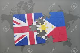 Great Britain World Map by Puzzle With The National Flag Of Great Britain And Philippines