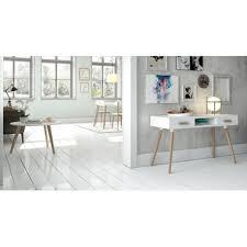 bureau tiroirs bureau 2 tiroirs en mdf blanc mat et pieds en chêne higgins