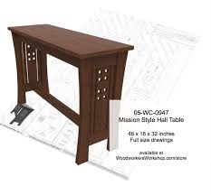 Hall Table Plans 05 Wc 0947 Mission Style Sofa Table Woodworking Plan