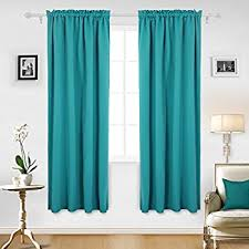 Turquoise Curtain Rod Amazon Com Deconovo Thermal Insulated Blackout Curtains Room