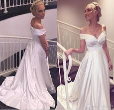 white off shoulder a line long satin beach wedding dresses simple