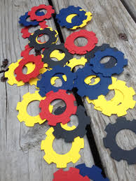 optimus prime birthday party transformer vector gear confetti blue yellow black bumblebee