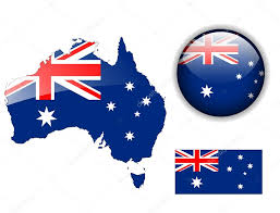 Austrslia Flag Australia Flag Map And Glossy Button U2014 Stock Vector Cobalt88