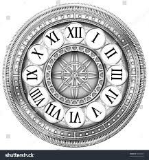 metal clock floral ornament curly stock illustration 95598655