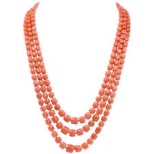natural beads necklace images Triple strand red natural coral gold beads necklace for sale at jpg