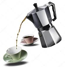 italian espresso maker italian coffee maker and two coffee cups u2014 stock photo arrfoto
