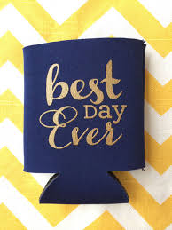 wedding koozie best day wedding can cooler best day wedding favor