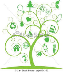illustration of spiral tree with ecology symbols vector clipart