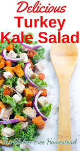 turkey kale salad with roasted sweet potatoes and carrots gluten