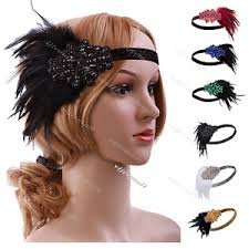1920s hair accessories 1920s flapper headband black gatsby fringe hair accessories