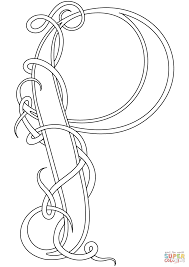 celtic style letter p coloring page free printable coloring pages