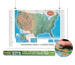 Mammoth Map The National Parks Scratch Off Travel Map Usa By Mappinners Ebay