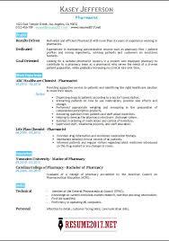 Pharmacist Resumes Pharmacist Resume 2017 Templates U2022
