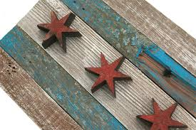 Chicaho Flag Handmade Reclaimed Wooden Chicago Flag Vintage Art Distressed