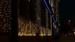 ungraded festive lights on the wall of casino in building of