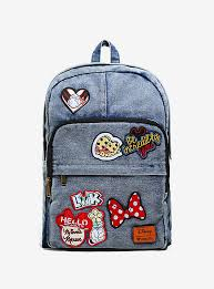 loungefly disney minnie mouse denim patch backpack boxlunch