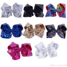 girl hair bows 8 inch sparkly girl jumbo jojo rainbow sequin hair bows on
