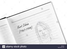 kurt cobain sketch in notebook stock photo royalty free image