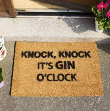 gin o clock doormat by letteroom notonthehighstreet com