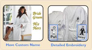 His And Her Wedding Gifts Bride And Groom Bath Robes 12 His Or Her Embroidery Bathrobes