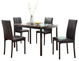 homelegance tempe 5 piece faux marble top dining room set with