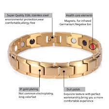 magnetic bracelet gold plated images Rainso brand men energy therapy bracelet gold stainless steel 4 jpg