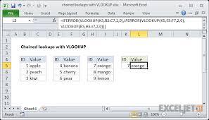 tutorial para usar vlookup excel formula multiple chained vlookups exceljet