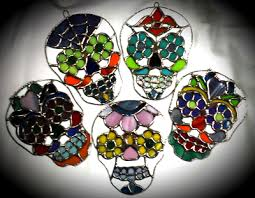 small sugar skulls fragile stained glass designs by