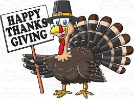 a turkey holding a thanksgiving sign clipart vector