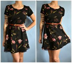 vintage floral print hipster party formal dress homemade is