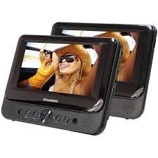 what format dvd player read sylvania 7 dual screen portable dvd player black walmart com