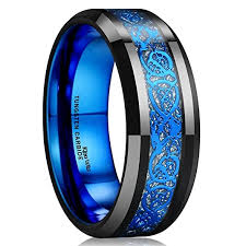 mens black wedding band blue celtic tungsten carbide ring 8mm mens black wedding