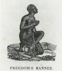 a slave clad in chains looking upward and praying intentionally