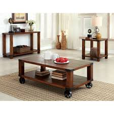 Solid Oak Furniture Furniture Of America Titus Dark Oak End Table With Metal Hardware