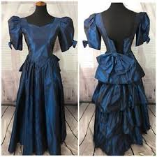 eighties prom dress vtg 80s prom dress blue taffeta puff bow sleeve ruffle formal