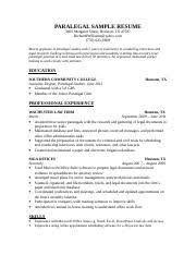 Paralegal Sample Resume by Enc 1101 English Fau Course Hero