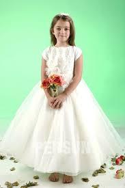 robe mariage enfants robe mariage enfant blanche longue à mancheron ornée de fleurs