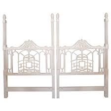 Hollywood Regency Bedroom Set Pagoda Twin Headboards Vintage Pair Chinese Chippendale Hollywood