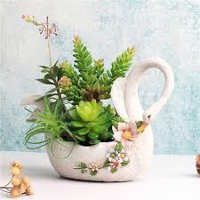 aliexpress com buy cute swan animal flower pot white resin