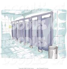 vector clipart of a watercolor and sketched public restroom scene